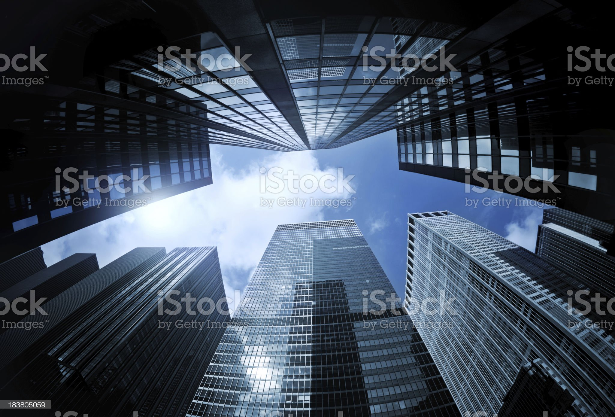 Manhattan Skyscrapers from below royalty-free stock photo