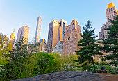 Manhattan skyscrapers in Central Park West
