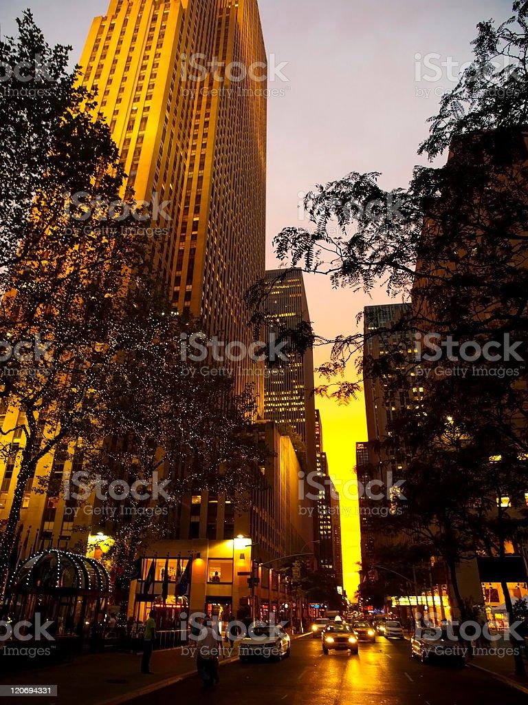 Manhattan Streets at sunset royalty-free stock photo
