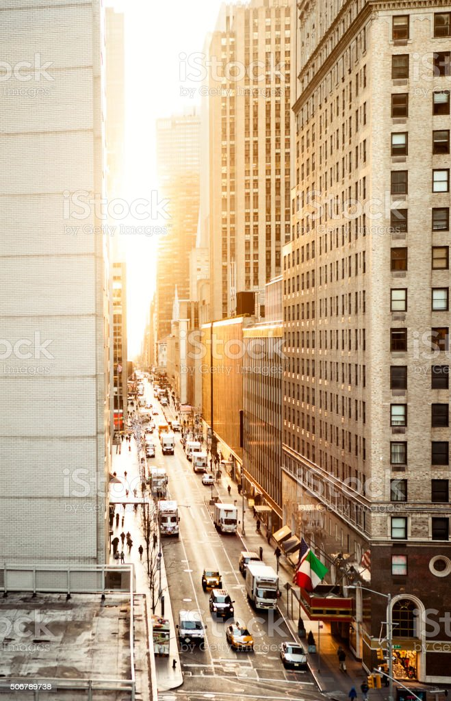 Manhattan streets view from above stock photo