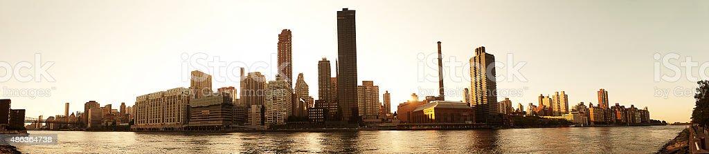 Manhattan Sunset at East river stock photo