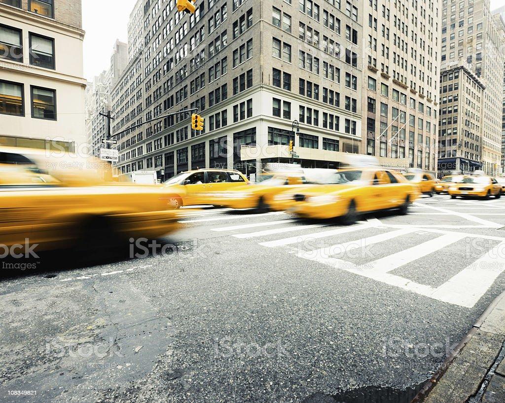 Manhattan Taxi Traffic New York City stock photo