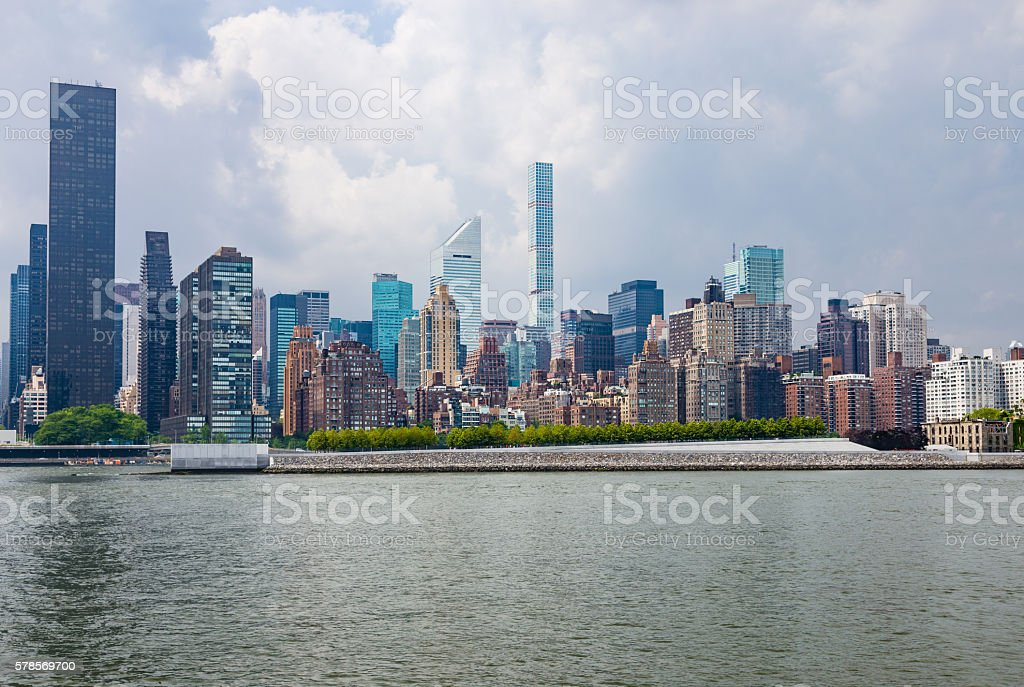 Manhattan Upper East Side Skyline and Roosevelt Island, New York. stock photo