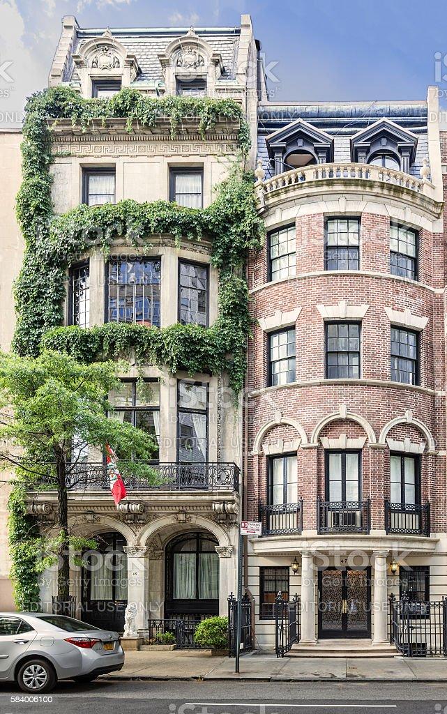 Manhattan Upper East Side Townhouses (Row houses), New York City. stock photo