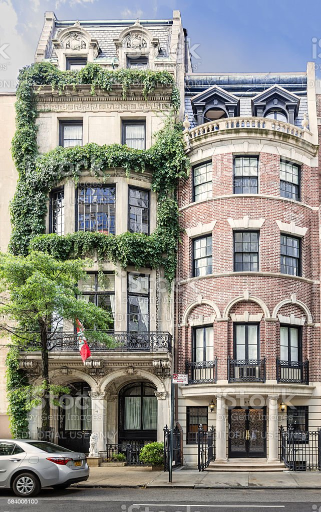 Manhattan Upper East Side Townhouses (Row houses), New York City. stock photo