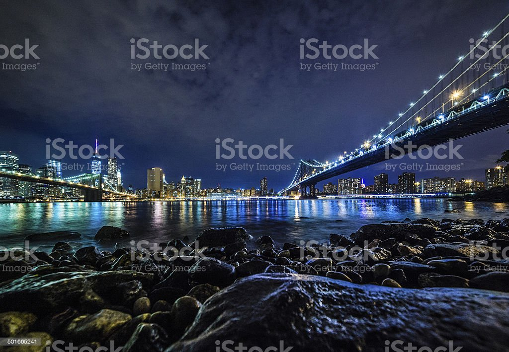 Manhattan view from Brooklyn at the night royalty-free stock photo