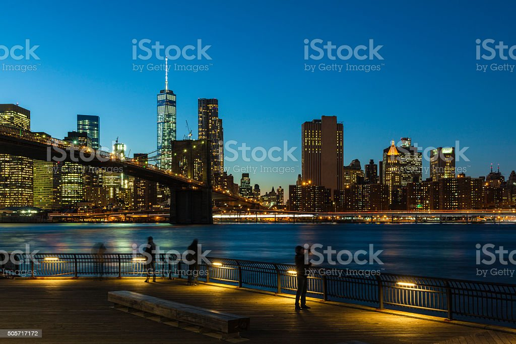 Manhattan view from Brooklyn at the night stock photo