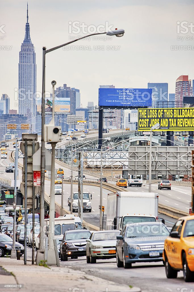 Manhattan viewed from Queens royalty-free stock photo