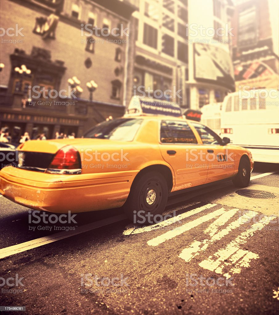 Manhattan yellow cab taxi times square - NYC royalty-free stock photo