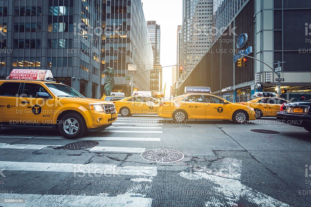 Manhattan yellow cabs stock photo