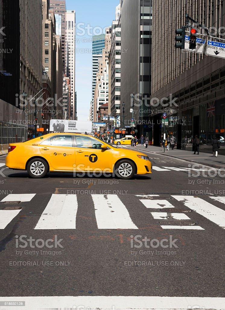 Manhattan yellow cabs stock photo