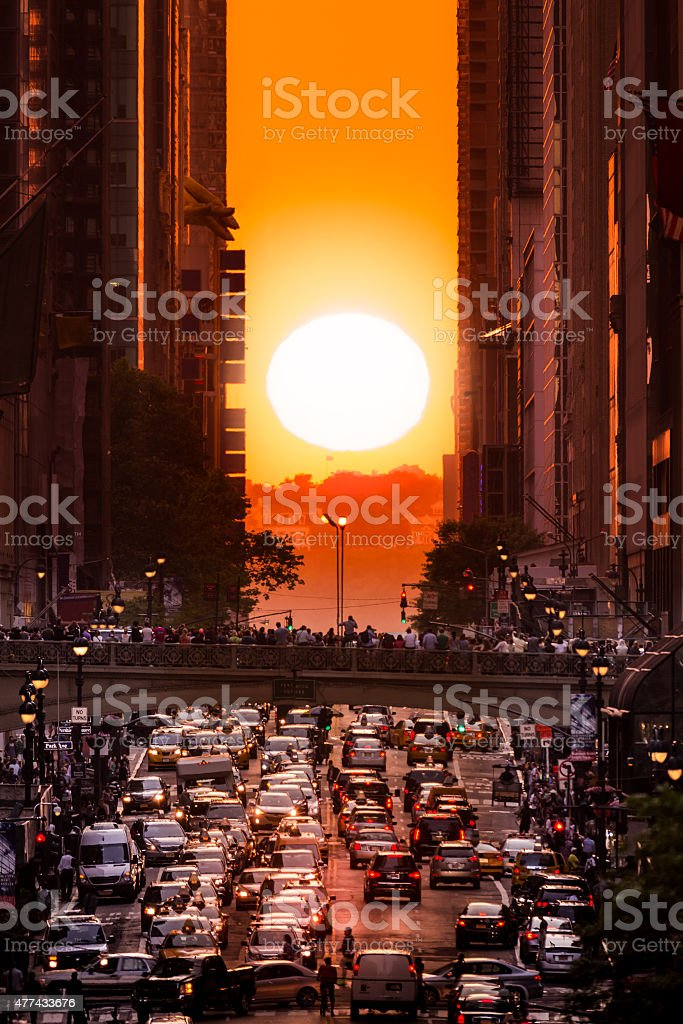 Manhattanhenge in New York City stock photo