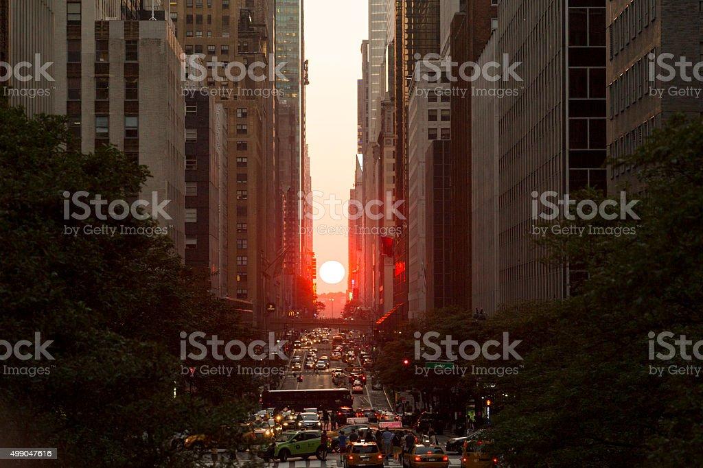 Manhattanhenge New York City Sunset on 42nd Street stock photo