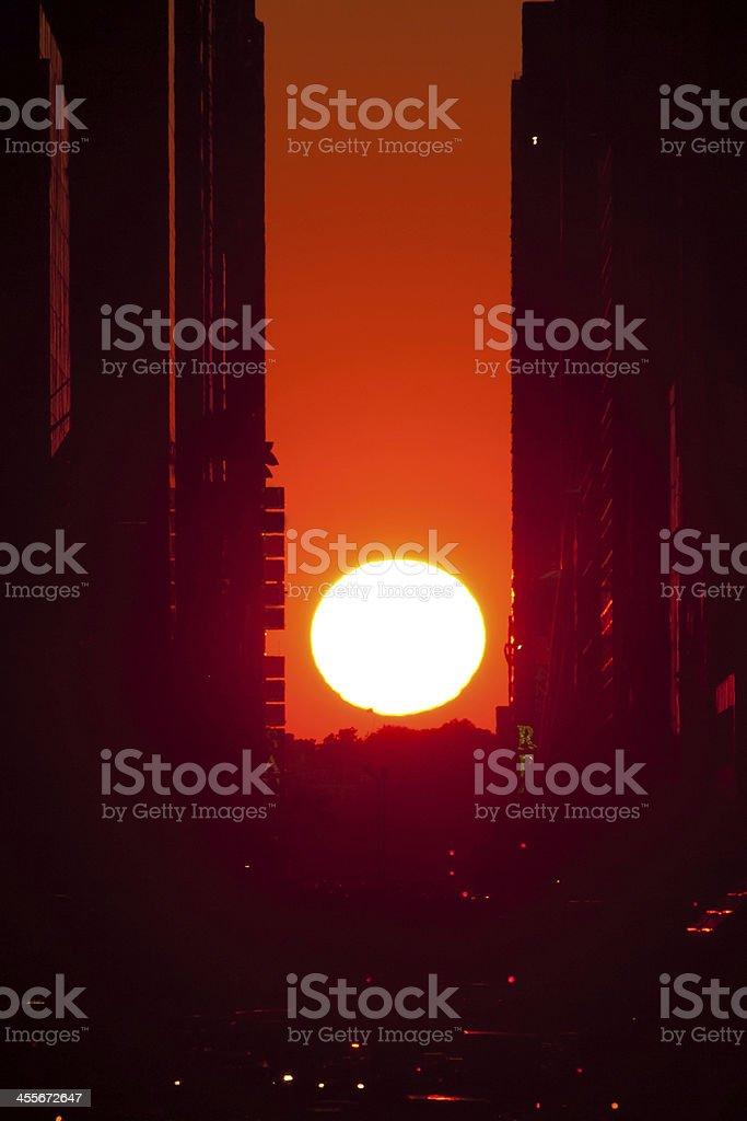 Manhattanhenge -Sunset at Manhattan, NYC stock photo