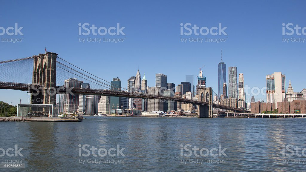 Manhattan's cityscape (including brooklyn bridge) viewed from main street park stock photo