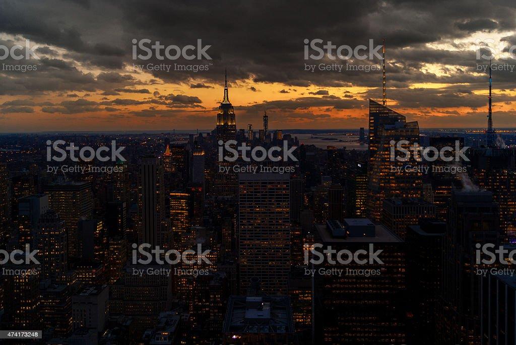 Manhatten Sunset stock photo