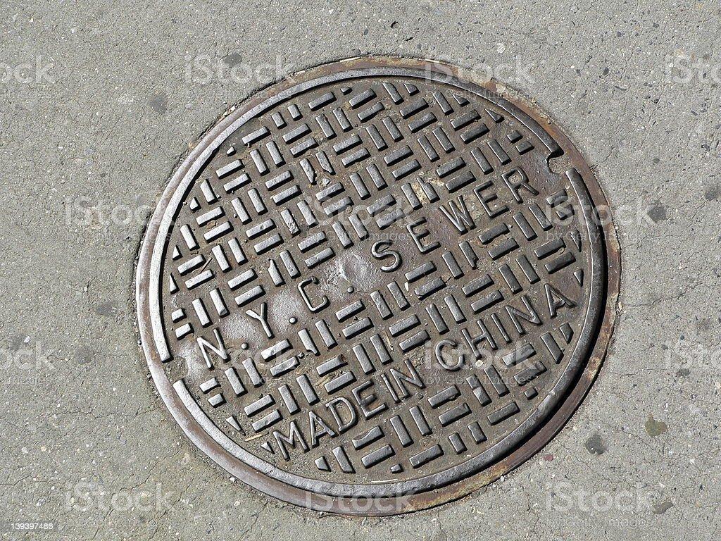Manhole cover in New York City stock photo