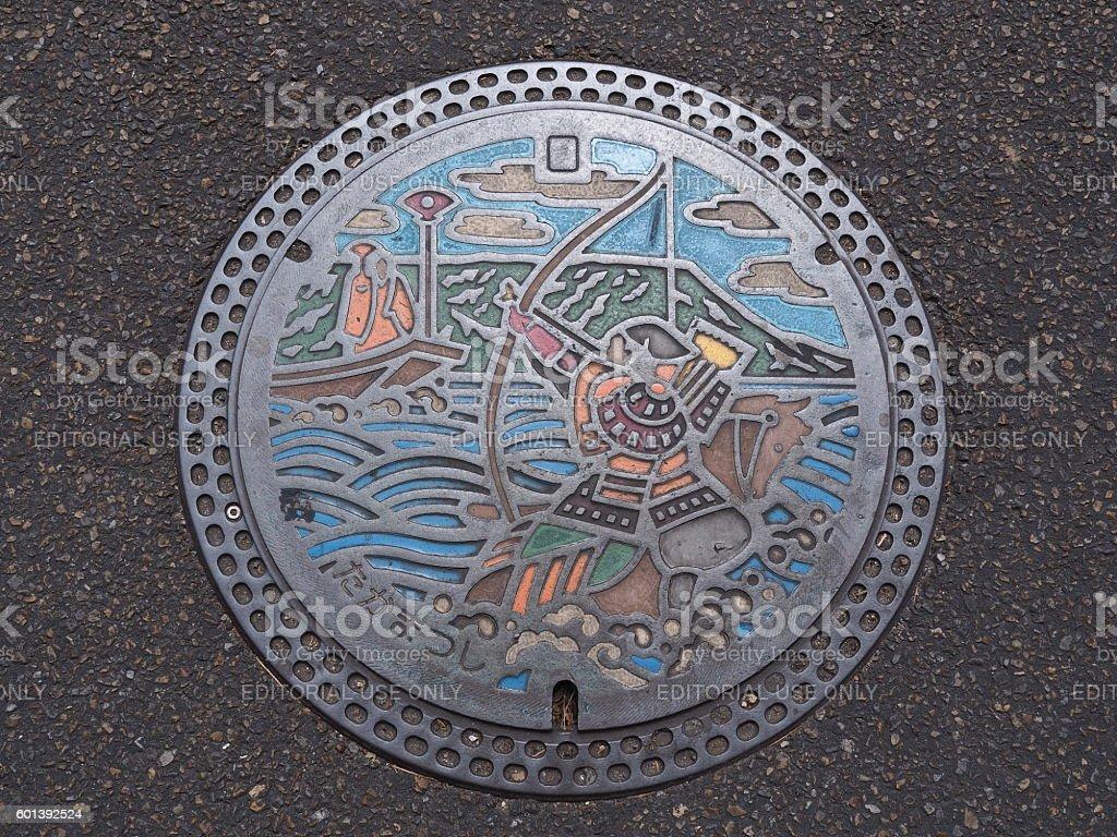 manhole cover in Takamatsu, Kagawa Prefecture, Japan. stock photo