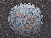 manhole cover in Takamatsu, Kagawa Prefecture, Japan.