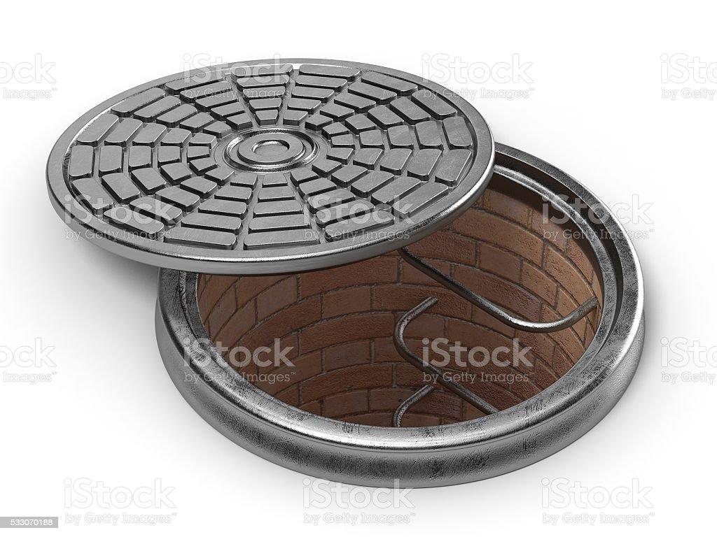 Manhole cover lid. 3D stock photo