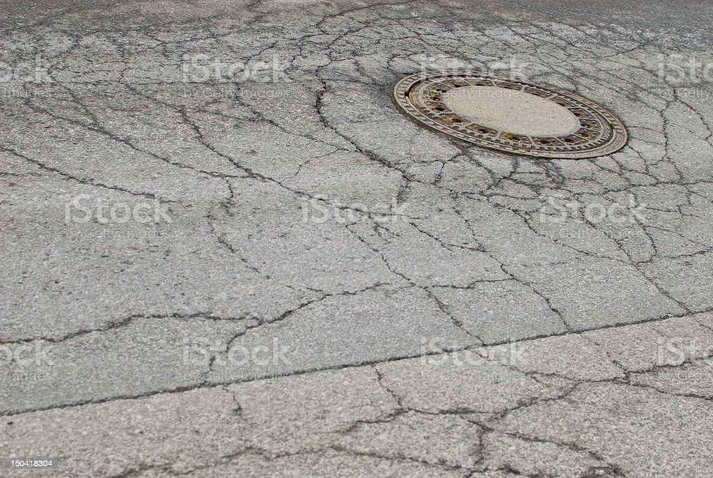 Manhole cover on an old city street stock photo