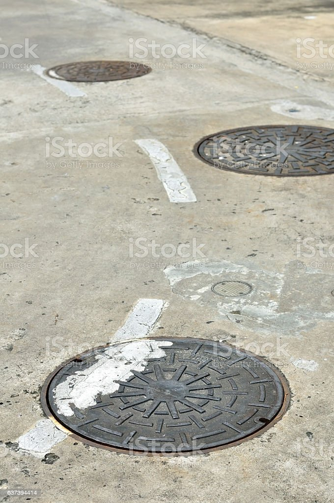 Manhole cover on street, drain cover stock photo