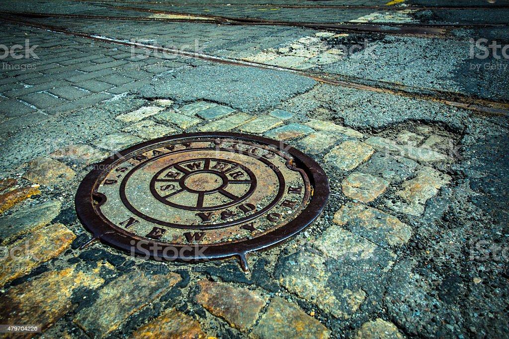 Manhole Drain Cover NYC stock photo