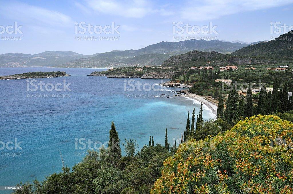 Mani coastline in Greece stock photo