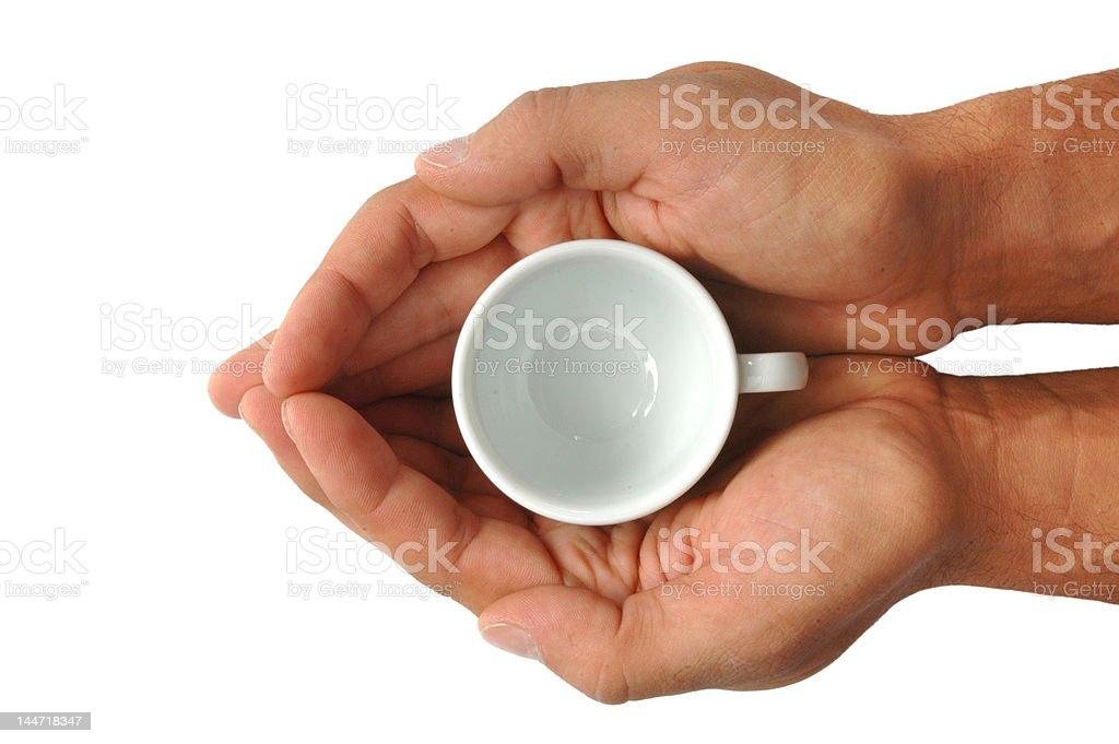 Mani con tazzina di caffè stock photo