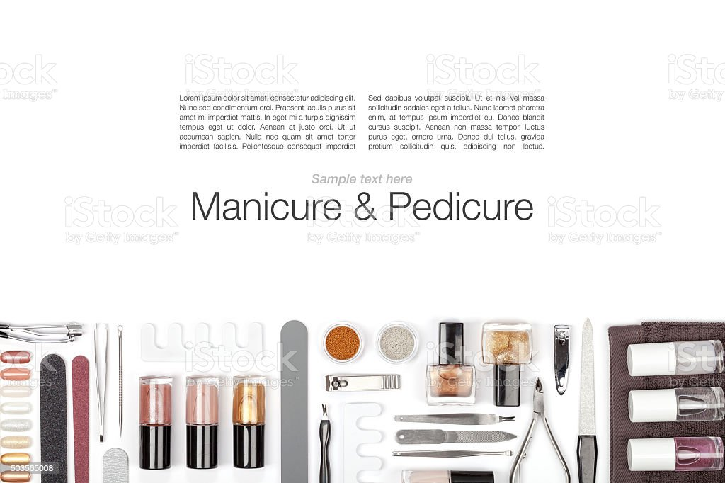 manicure and pedicure equipment on white background stock photo