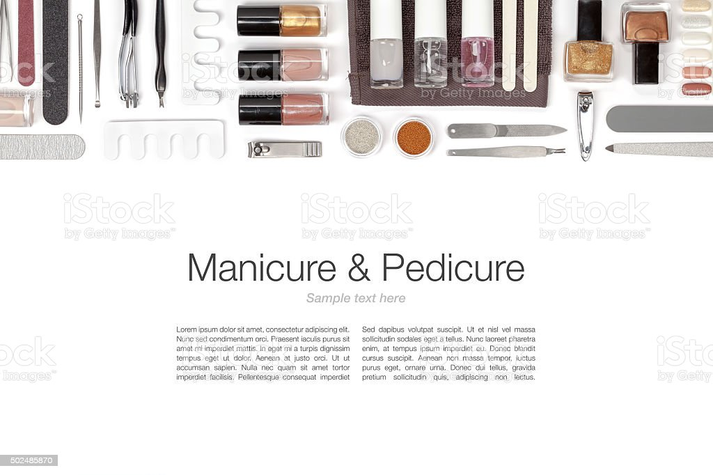 manicure and pedicure set on white background stock photo