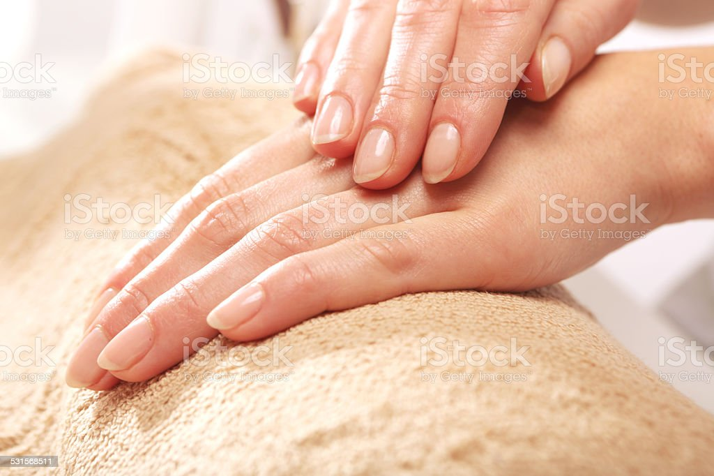 Manicure, beautiful healthy nails stock photo