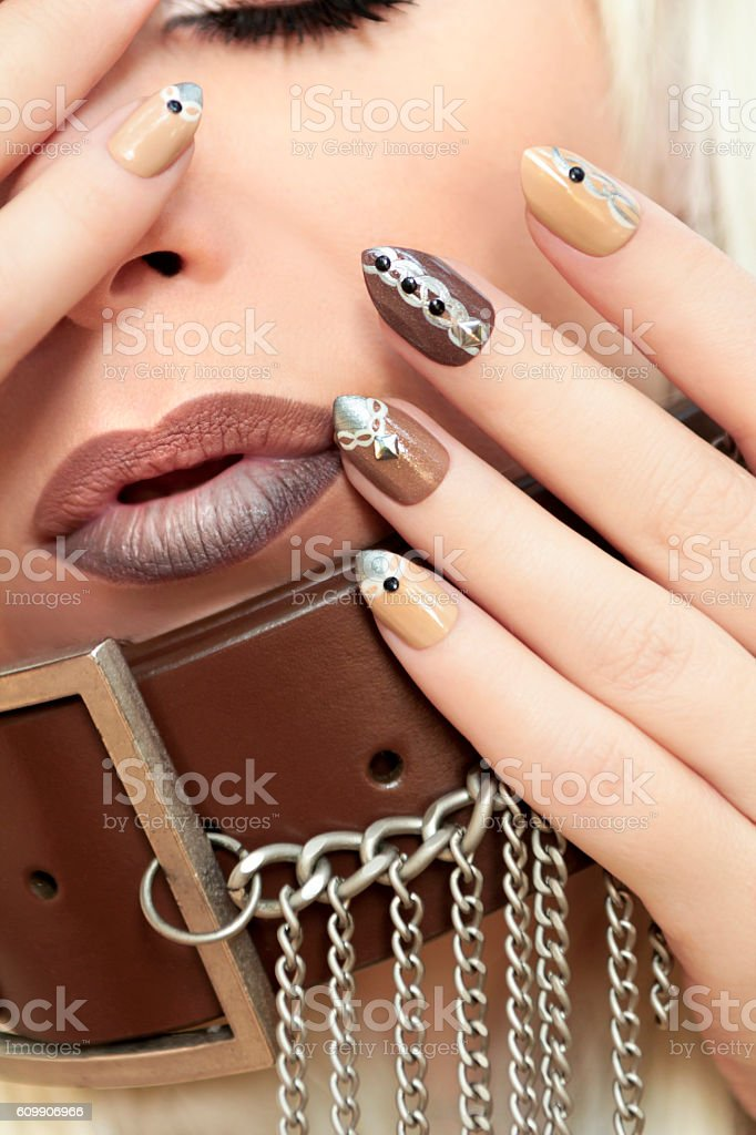 Manicure brown chain. stock photo