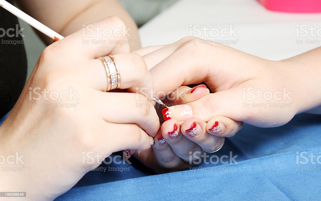 Manicure in progress royalty-free stock photo