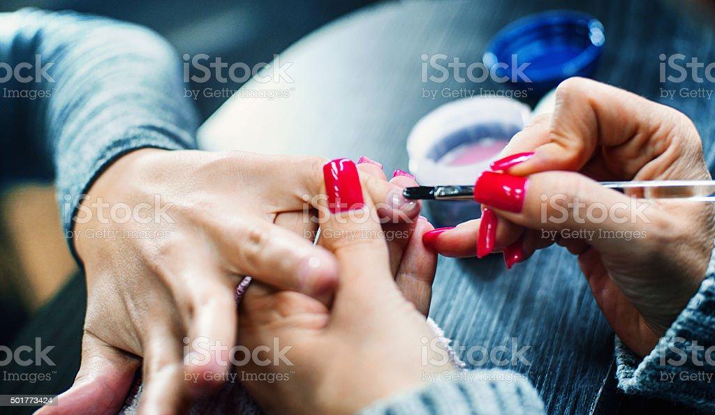 Manicure treatment. stock photo