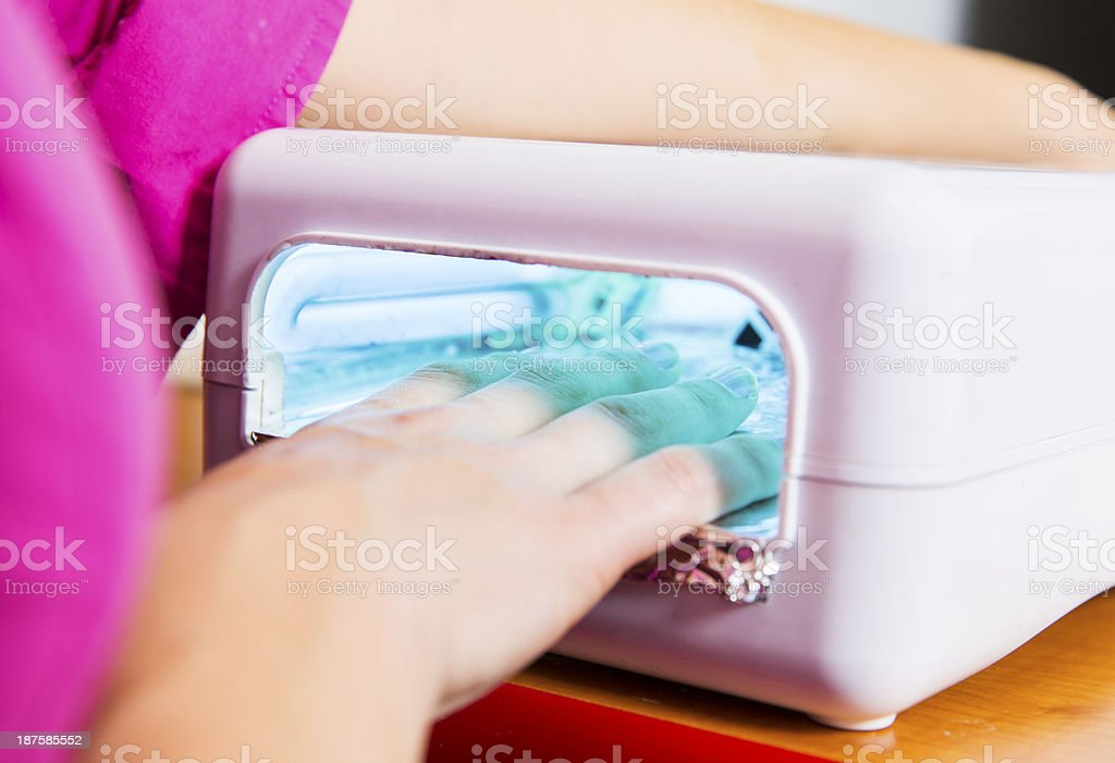 Manicure treatment...nail dryer uv light royalty-free stock photo