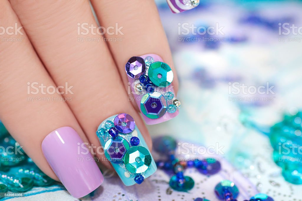 Manicure with beads. stock photo