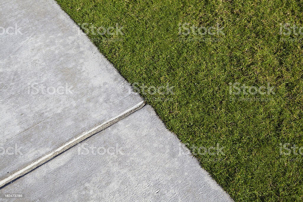 Manicured Lawn and  Sidewalk royalty-free stock photo