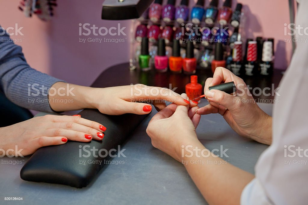 manicure,nail varnish red stock photo