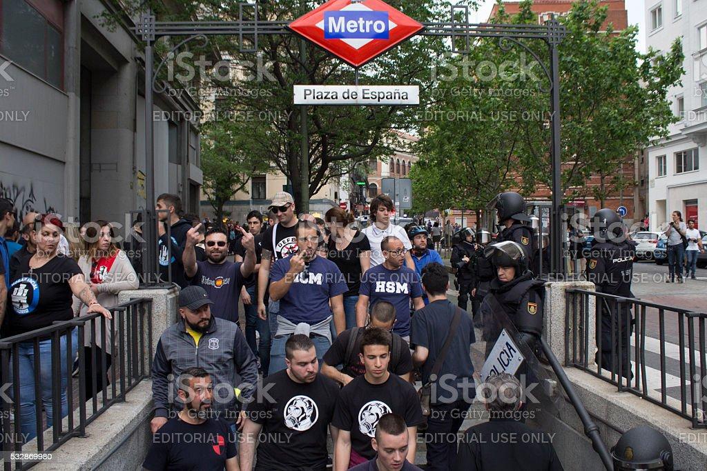 Manifestacion Neonazi de Hogar Social Madrid stock photo