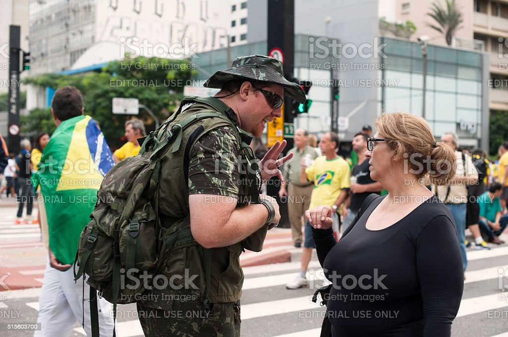 Manifestation Paramilitary in Brazil stock photo