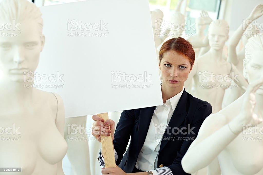 Manifesto of a woman stock photo