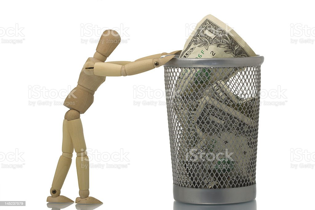 Manikin pushing mesh trash bin with dollar royalty-free stock photo