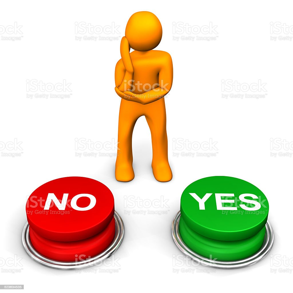 Manikin Yes No Decision stock photo