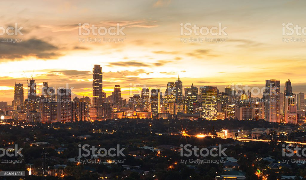 Manila at night stock photo