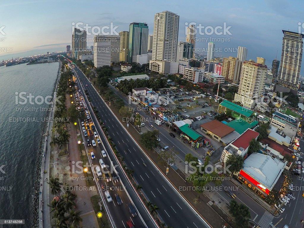 Manila Bay and Skyscrapers stock photo