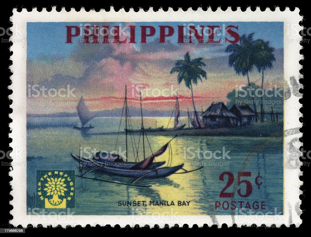 Manila Bay Philippines postage stamp royalty-free stock photo