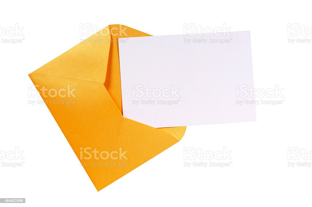 Manila brown envelope with blank letter card stock photo