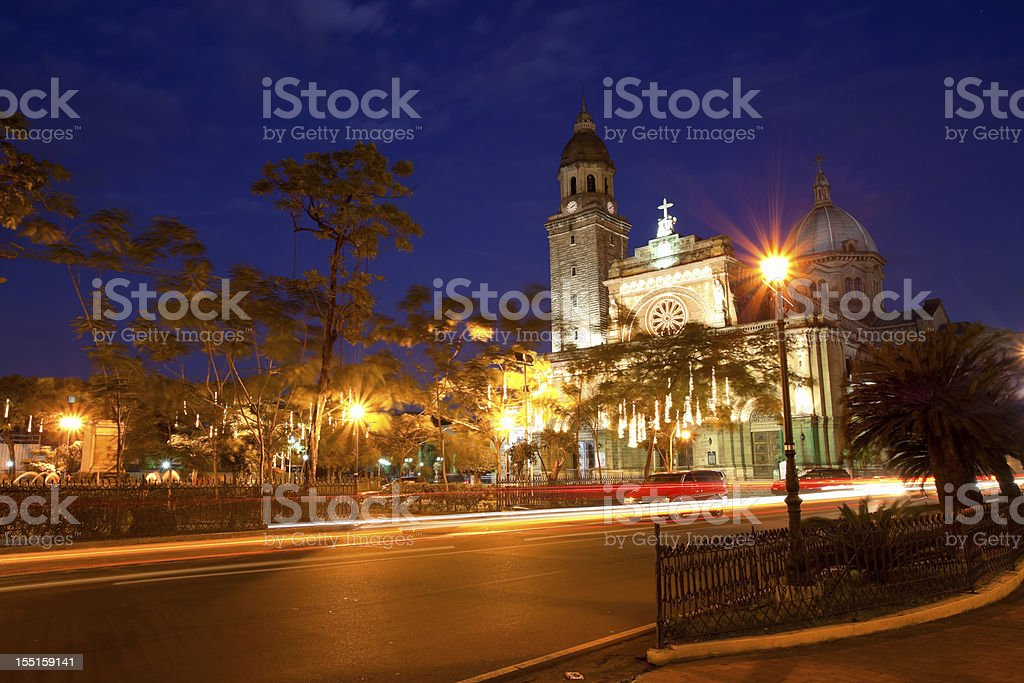 Manila Cathedral in the Philippines at night stock photo