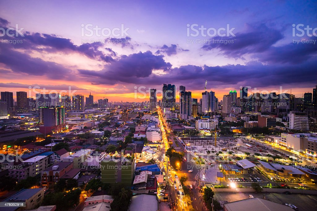 Manila city at Twilight showing Makati City and Ortigas stock photo